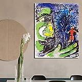 KWzEQ Decoración Moderna del Famoso Pintor Abstracto Arte de la Pared póster en Lienzo Sala de Estar decoración del hogar,Pintura sin Marco,60x75cm