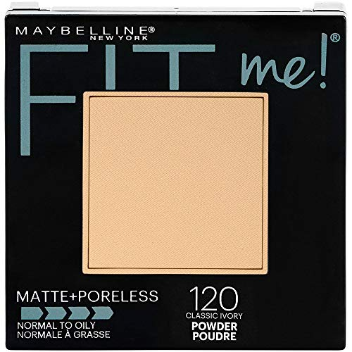 Maybelline New York Fit Me! Matte + Poreless Foundation Powder, Classic Ivory [120] 0.30 oz (Pack of 2)