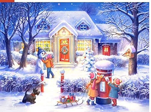 1000 Piece Wooden Jigsaw Puzzle - Christmas Eve Snow Night - Snowman -Send Puzzle for Kids Adult Teens Reduced Pressure Toy Gift