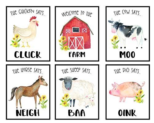 Farm Nursery Decor  Cow Wall Decor  Pig Nursery Decor for Boys  Baby Wall Decor  Chicken Wall Art  Farm Animal Nursery Decor  Nursery Wall Decor Girl  Set of Prints 8x10 (Welcome to The Farm)