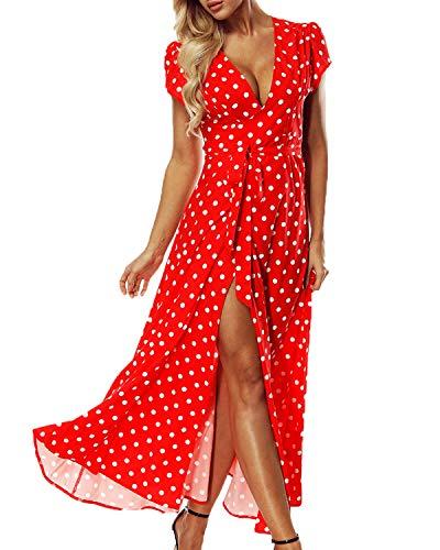 ACHIOOWA Sommerkleid Damen Tief V Ausschnitt Kurzarm Tallierte Maxi Strandkleid Hohe Schlitz mit Gürtel Rot-646313 XL