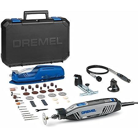 Dremel 4300 - Multiherramienta con kit con 3 complementos, 45 Accesorios, Velocidad Variable 5.000-35.000 RPM para tallar, fresar, amolar, pulir, Cortar y lijar, 175 W