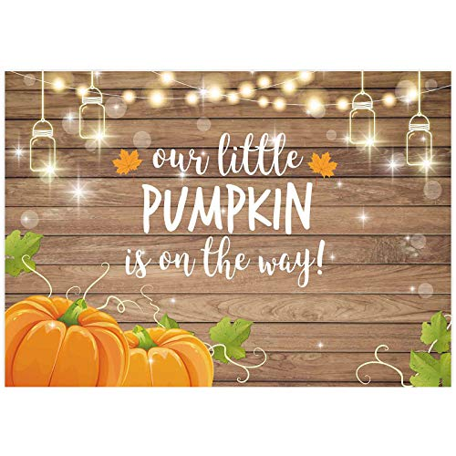 Allenjoy Pumpkin Rustic Wood Baby Shower Backdrop Autumn Our Little Pumpkin Boy Girl is On The Way Welcome Party Decorations Baby is Brewing Theme Cake Table Banner 7x5ft Background Photo Booth Props