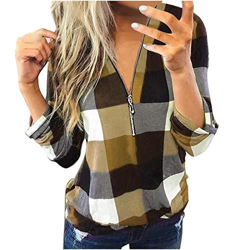YANFANG Camisas y Blusas Informales de Manga Larga con Cuello en V y Estampado de Lino a la Moda para mujerCamiseta, Unisex, Ropa Urbana (Yellow02021, 3XL)