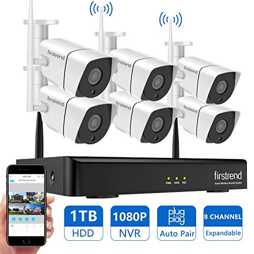 [Newest]Security Camera System Wireless, Firstrend 8CH 1080P Wireless Surveillance NVR System and Easy Remote Home Monitoring Systems with 6pcs 1MP Video Home Security Cameras 1TB Hard Drive Installed