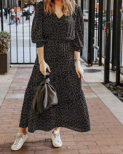The Drop Women's Black and White Polka-Dot Tiered Maxi Dress by @somewherelately