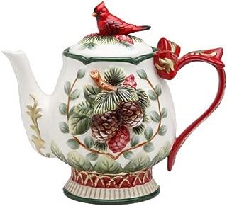 Cosmos Gifts 26-Ounce Evergreen Holiday Cardinal Tea Pot