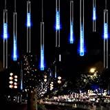 電光ホーム ソーラー LED イルミネーション スノーフォール つらら ライト [ 上から下へ流れる/リモコン付属 / 50cm × 10本 ] 屋外 防水 防雨 ガーデン 屋外イルミネーション (ブルー)
