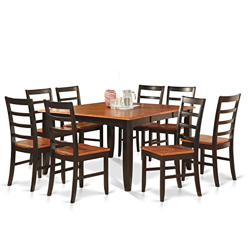 PARF9-BLK-W 9 Pc Dining room set for 8-Square Table with Leaf and 8 Dining Chairs