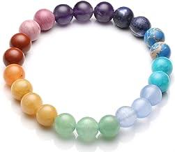 Top Plaza Chakra Healing Crystals Natural Stone Beads Bracelet Handmade Gemstone Stretch Bracelets Yoga Reiki Jewelry for Women Men