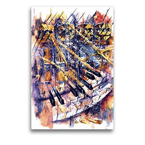 Premium Textil-Leinwand 50 x 75 cm Hoch-Format Piano in Jazz | Wandbild, HD-Bild auf Keilrahmen, Fertigbild auf hochwertigem Vlies, Leinwanddruck von Thomas Weisenberger