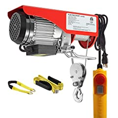 440 Lift Electric Hoist Crane Remote Control Power System, Zinc-Plated Steel Wire Overhead Crane Garage Ceiling Pulley Winch w/Straps (w/Emergency Stop Switch)