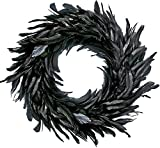 MOVINPE Black Wreath Halloween Wreath 15'' Black Natural Cocktail Feather Wreath, Halloween Photo Props, Front Door Decor Witch Spooky Scene Party Halloween Decorations