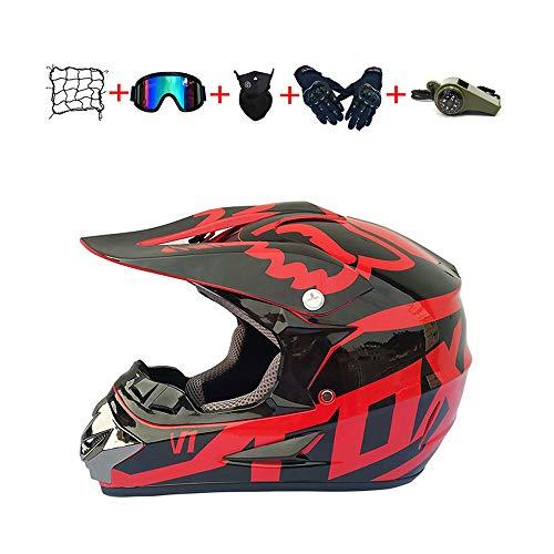 CJBYYBF Casco Motocross Niño, ECE Certificación Casco de moto para niños Downhill.Cascos de Cross de Moto Set con Gafas/Máscara/Red Elástica/Guantes (Rojo, L:56-57 cm)