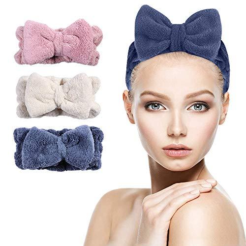NOCHME Bowknot Haarband Stirnband Kosmetik Für Damen Frauen Mädchen, 3er Korallen Samt Breit Kopfband Haartücher, Elastische Stirnbänder Haarbänder Für Make-up Spa...