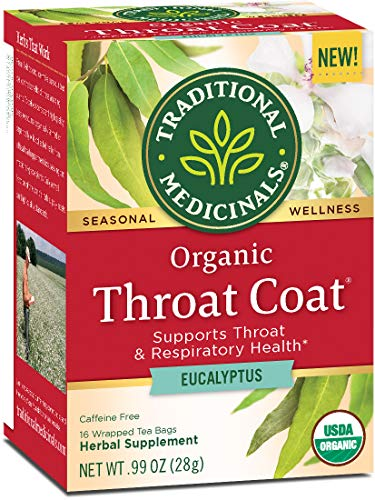 Traditional Medicinals Organic Throat Coat Eucalyptus Seasonal Tea (Pack of 6), Supports Throat Health, 96 Tea Bags Total