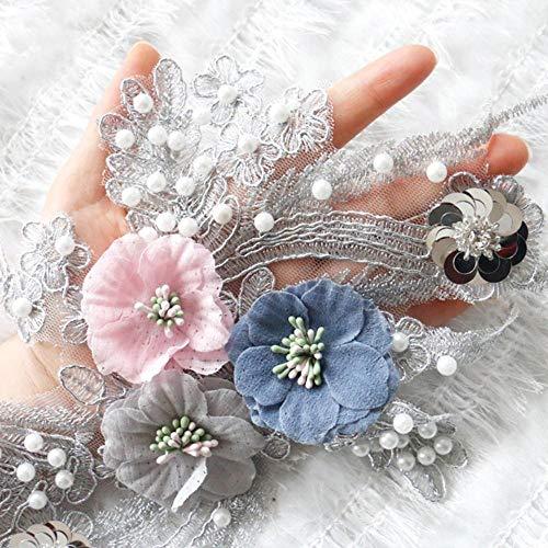 WOOAI 1 STK. 18 * 31cm Grau 3D Flower Beaded Lace Applique Stickerei Nähbesatz Lace Neckline Fabric DIY Bekleidungszubehör