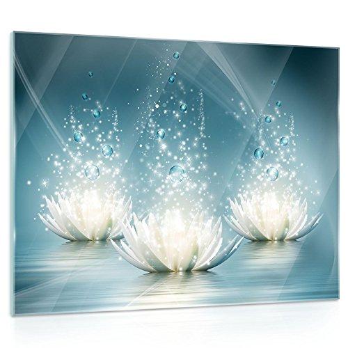 """Wand Bild modern Glasbild /""""Maiglöckchen Blätter/"""" von DEKOGLAS 125x50 aus Glas"""