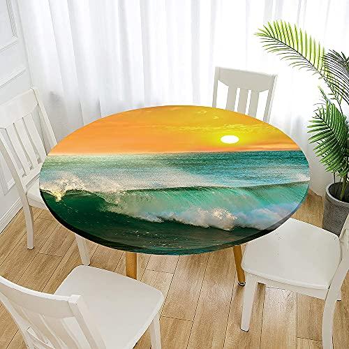 Fansu Impermeable Redondo Mantel con Borde Elástico, 3D Impresión Mantel de Mesa Elástica Ajustada Cubierta de Mesa para Picnic Comedor Cocina Restaurante Cena (Diámetro 200cm,Ola 1)