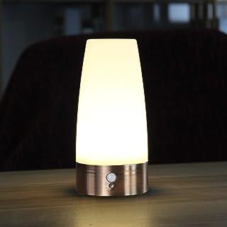 Rund Drahtloser PIR Bewegungs-Sensor LED Nachtlicht Tischleuchte Holzsockel