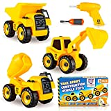 Take Apart Construction Trucks & Tractor Toys - Set of 3 Take Apart Trucks with Drill - Includes Dump Truck, Cement Truck & Excavator, Educational Construction Vehicles for Kids, Boys & Girls Ages 3+