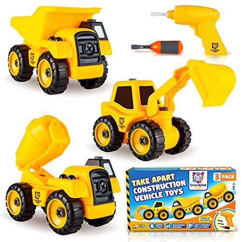 Take Apart Construction Truck Toys - Set of 3 Take Apart Trucks with Drill & Screwdriver - Dump Truck, Cement Truck & Tractor Excavator, Construction Take Apart Toys for 3 4 5 6 Years Old Boys & Girls