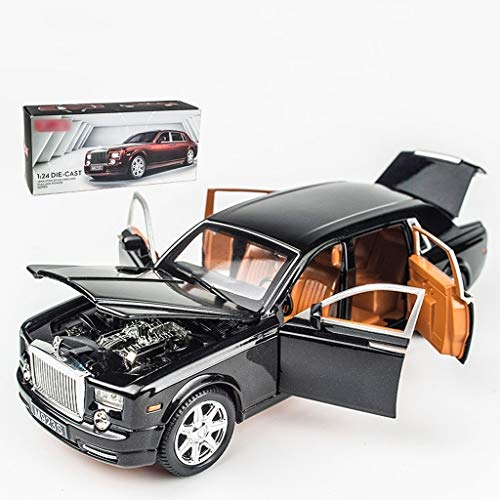 Car Model Scale 1:24 / Compatible with Rolls Royce Phantom/Opening Sound Light Pull Back Function Facing The Open Car Door Vehicle Model (Color : Black)