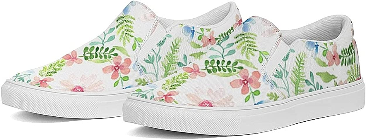 Women's Slip On Shoes Fashion Flowers Loafers Comfortable Canvas Shoe Breathable Casual Sneakers