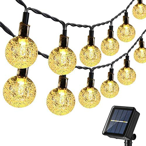 Joomer Globe Solar String Lights Garden Outdoor, 20ft 30 LED Solar Globe Lights Waterproof 8 Modes Crystal Ball Lighting for Patio Lawn Garden Wedding Party Christmas Decorations (Warm White)