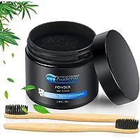 Blanqueador de Dientes Polvo blanqueador de dientes, Blanqueador Dental Activated Charcoal, Aliento Fresco, Mejora la salud bucal(Incluye 2 cepillos de madera de bambú)
