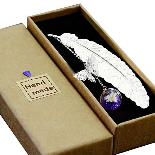 Toirxarn Segnalibro in piuma di metallo, con farfalla 3D e perle di vetro Ciondolo eterno fiore secco. Regalo per lettori,...