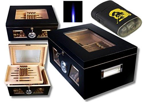 Lifestyle-Ambiente Black Wonderful Kristallglas Humidorset V-1320 inkl Feuerzeug und Tastingbogen