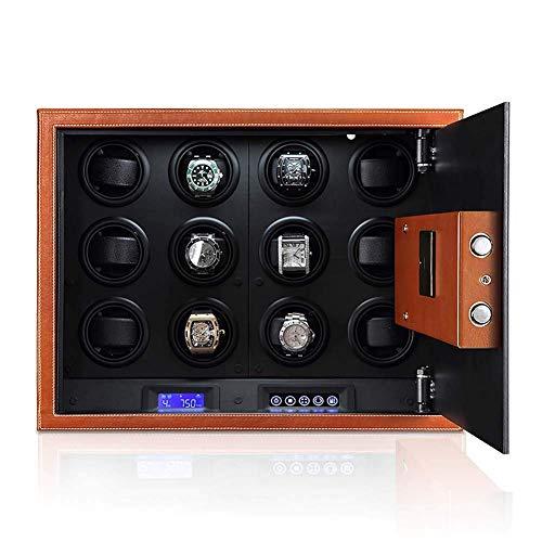 Caja de seguridad para armario, caja de seguridad para 12 enrolladores de reloj, para 12 relojes automáticos Motor silencioso / fácil configuración / 4 modos preprogramados, cuero de microfibra, pant