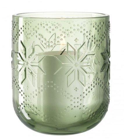 LEONARDO 34672 Windlicht/Teelichthalter - NORDICO - Glas - grün - Höhe 17cm