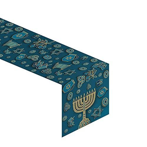 Jiudungs Linen 13x72'' Hanukkah Table Runner Chanukkah Table Decor Jewish Hanukkah Star of David Menorah Dreidel Table Decoration for Home Kitchen Dining