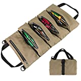 Roll Up Tool Bag, Super Tool Roll Bags, Canvas Tool Roll Pouch, Multi-Purpose Wrench Tool Roll Organizer Hanging Pouch Tote Carrier Bag with 5 Zipper Pockets for Electrician HVAC Mechanic (Khaki)