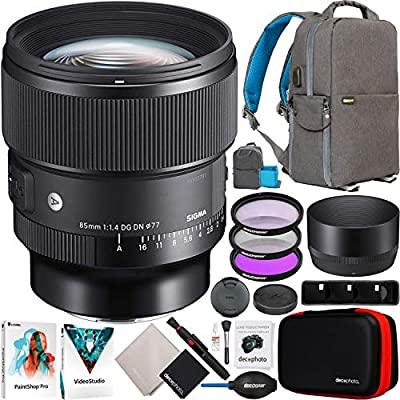 Sigma 85mm F1.4 DG DN Art Lens for L-Mount Full Frame Mirrorless Cameras 322969 Bundle with Deco Gear Photography Backpack + UV, Polarizer & FLD Filter Kit + Accessories by SIGMA