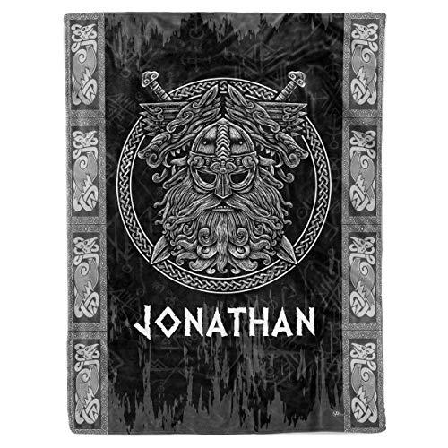 Personalized Custom Name Viking Odin God Art Christmas Birthday Sherpa Fleece Throw Blanket Celtic Scandinavian Norse Runes Themed Presents for Men Women Mom Dad Lovers