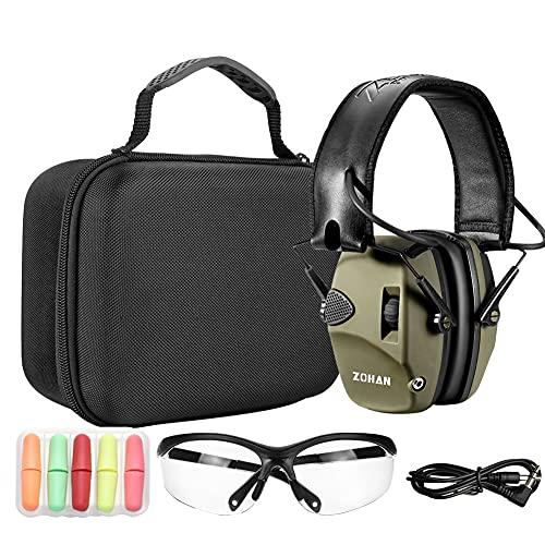 ZOHAN EM054 Elektronische Gehörschutz Schiessen Kapselgehörschutz Ohrenschützer Lärmdämpfung für Jagd Schieß Dämmwert, NRR22dB SNR 27dB (Grün)