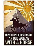 MG global - Caballo niña - Una anciana con un caballo- Vaquera, regalo de vaquero - Arte de pared sin marco