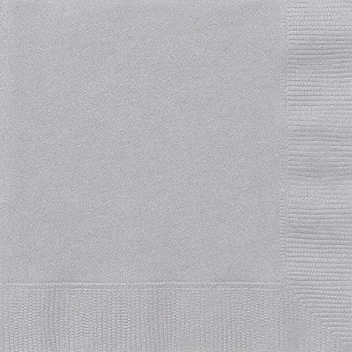 Papierservietten - 16,5 cm - Silber - Packung mit 20 Stück
