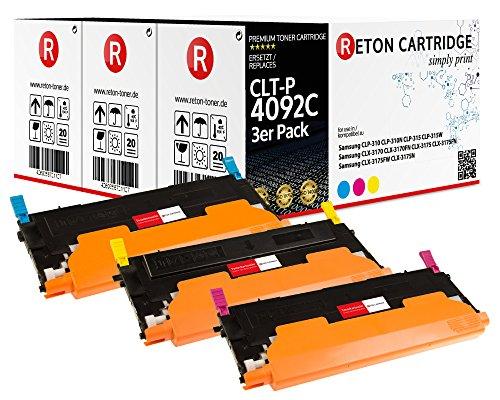 3 Original Reton Toner kompatibel nach (ISO-Norm 19798) ersetzt CLT-P4092C für Samsung CLP-310N CLP-315 CLP-315W Samsung CLX-3170 CLX-3170FN CLX-3175 CLX-3175FN CLX-3175FW CLX-3175N