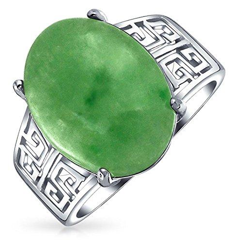 Boho Oval Grün Jade Griechische Schlüssel Filigrane Erklärung Band Ringe Für Damen Sterlingsilber August Geburtsstein