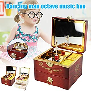 Gebuter Music Box Dancing Ballet Vintage Melody Home Decoration Accessories Jewelry Storage Drawer with Makeup Mirror
