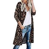 Suéteres de Mujer Cárdigan Punto Grueso Delantero Abierto Jerséis Sueltos Mangas largas Tejido Casual Prendas holgadas Cuello en V Abrigo de Gran tamaño con Estampado de Leopardo de Abrigo Chaqueta