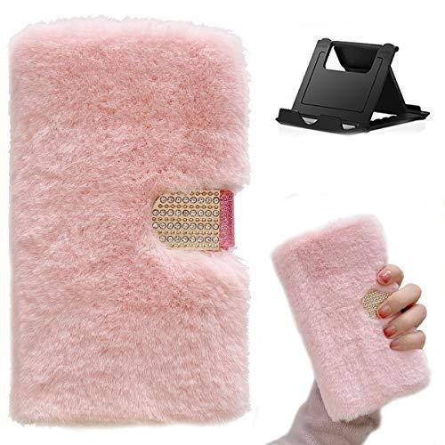Shinyzone Funda compatible con iPhone 12 Pro Max de 6,7 pulgadas con tarjetero, piel de peluche con tapa de piel sintética rosa, piel sintética, suave y resistente a los golpes