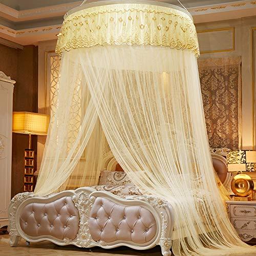 ZEMER Elegante ronde hoepel muggennet-bed luifel polyester bed gordijnen snel eenvoudige installatie, fijnste gaten gordijn netten met ingang, opbergtas, geen chemicaliën (1,2m bed)
