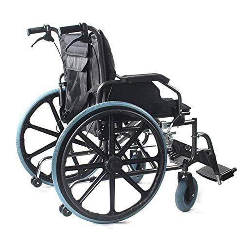 Leichte manuelle Rollstühle mit Eigenantrieb Großer Rollstuhl, verdicken / Widen / Vergrößern Transport Rollstuhl Carbon Steel Handbremse mit Lock-12-Zoll-Hinterrädern Flip Armlehne Wankstützeinrichtu