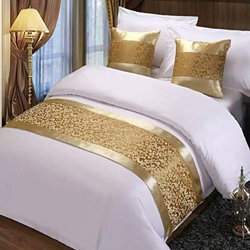 Twelve Champagne King Bed Scarf Runner Bedding Scarves for Home Hotel Guesthouse