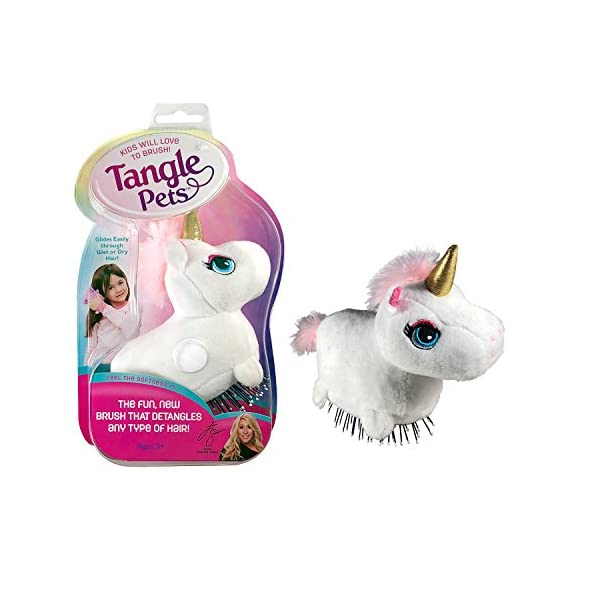 Tangle Pets SPARKLES THE UNICORN- The Detangling Brush in a Plush, Great for Any Hair Type, Removable Plush, As Seen on Shark Tank 3